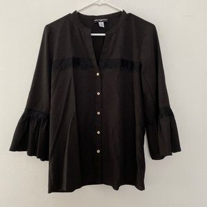 Karl Lagerfeld Paris Bell Sleeve Button Up Blouse